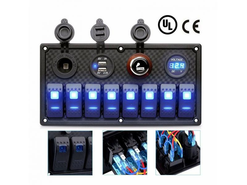 8 Gang 12V Rocker Switch Panel for Marine Car Vehicles Truck Boat Waterproof Digital Voltmeter Displ