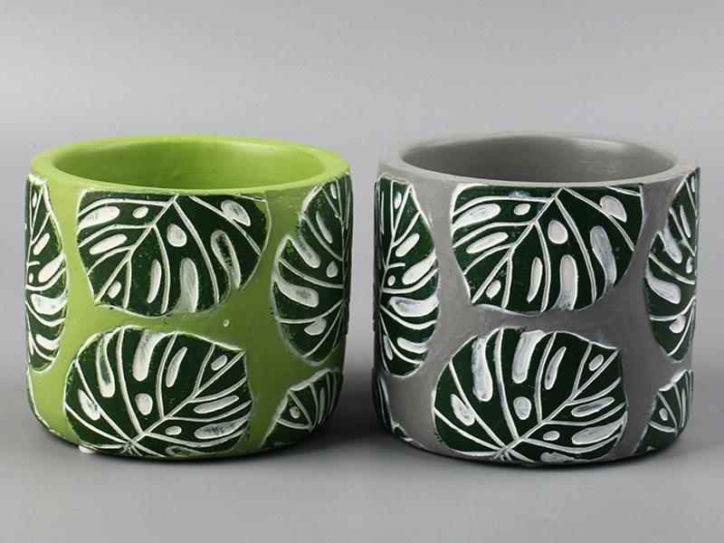 Tropical Green Leaf Pattern Personality Cement Flower Pot
