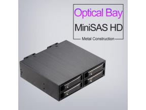 Unestech ST2542 MiniSAS 2.5in Four-Bay SATA/SAS SSD HDD Enclosure for 5.25in Optical Drive Rack