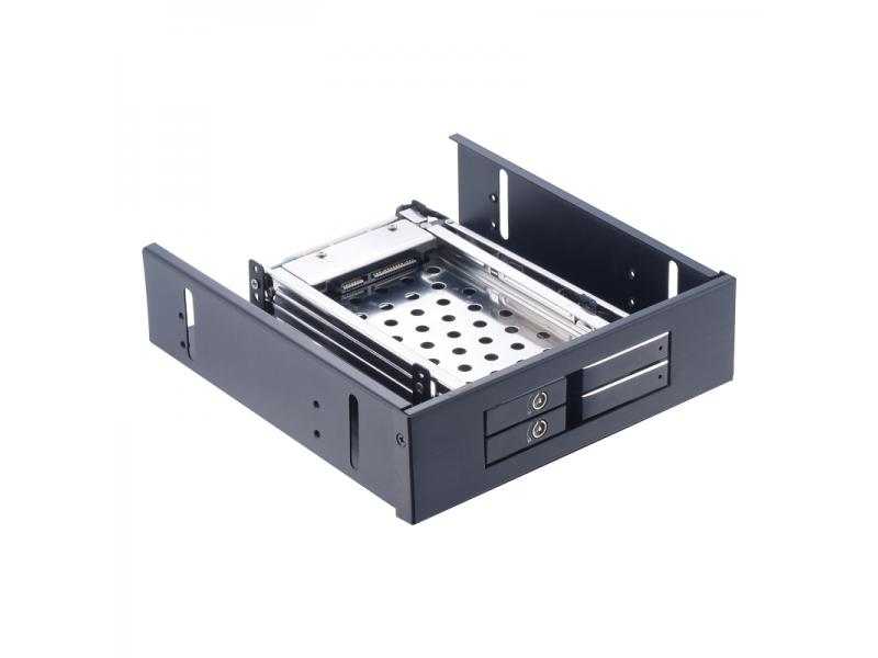 Unestech ST5524 Aluminum 2.5in Dual Bay Tray-less SATA SSD HDD Mobile Rack for 5.25in Optical Drive